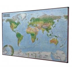 Świat fizyczny/krajobrazowy 138x95cm. Mapa do wpinania-rama brązowa.