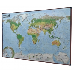 Świat Krajobrazowy 138x95cm. Mapa w brązowej ramie aluminiowej.