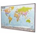 Świat Polityczny 138x95cm. Mapa magnetyczna - rama brązowa.
