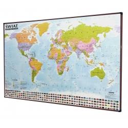 Świat Polityczny 138x95cm. Mapa w brązowej ramie aluminiowej.