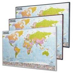 Świat Polityczny 138x95 cm. Mapa do wpinania - rama srebrna.