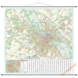 Wrocław/plan miasta 140x134cm. Mapa ścienna.