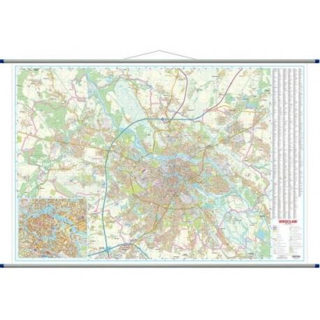 Wrocław-plan miasta 206x143cm. Mapa ścienna.
