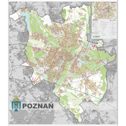 Poznań - plan miasta 140x160cm. Mapa ścienna.