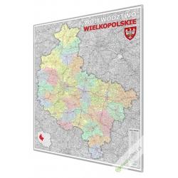 Wielkopolskie administracyjno-drogowa 114x150cm. Mapa w ramie aluminiowej.