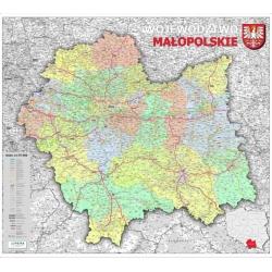 Małopolskie adminstracyjno-drogowa 104x122cm. Mapa ścienna.