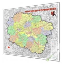 Kujawsko-Pomorskie administracyjno-drogowa 100x120cm. Mapa w ramie aluminowej.