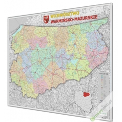 Warmińsko-Mazurskie 120x100 cm. Mapa w ramie auminiowej.