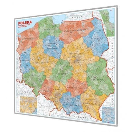 Polska Administracyjna 110x100 cm. Mapa w ramie aluminowej.