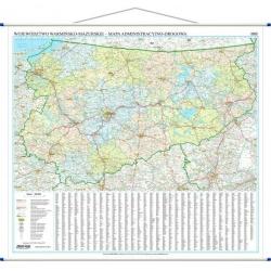 Warmińsko-Mazurskie administracyjno-drogowa 129x122 cm. Mapa ścienna.