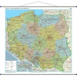Polska administracyjno-drogowa 154x140cm. Mapa ścienna.