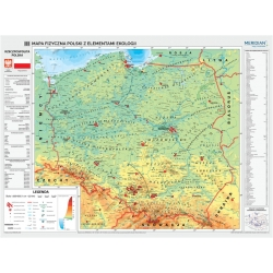 Polska fizyczna z elementami ekologii 160x120cm. Mapa ścienna.