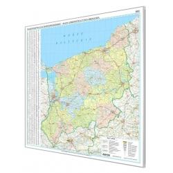 Zachodniopomorskie 127x132 cm. Mapa w ramie aluminiowej.