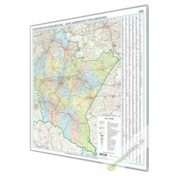 Warmińsko-Mazurskie 140x90 cm. Mapa w ramie aluminiowej.