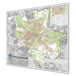 Poznań - plan miasta 140x160cm. Mapa w ramie aluminiowej.