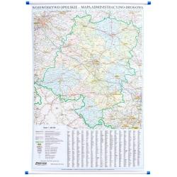 Opolskie administracyjno-drogowa 78x111 cm. Map ścienna.