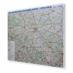 Dolnośląskie i Opolskie 140x118cm. Mapa w ramie aluminiowej.