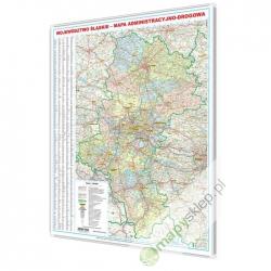 Śląskie administracyjno-drogowa 92x108cm. Mapa w ramie aluminowej.