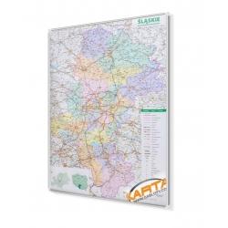 Śląskie administracyjno-drogowa 94x132cm. Mapa do wpinania.