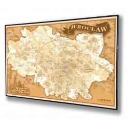 Wroclaw-plan miasta stylizowany 140x100cm. Mapa w ramie aluminiowej czarnej.