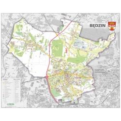 Będzin-plan miasta 120x98cm. Mapa ścienna.