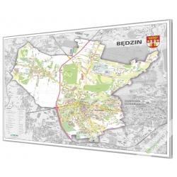 Będzin - plan miasta 120x98cm. Mapa w ramie aluminowej.