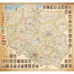 Polska administracyjno-drogowa stylizowana 104x94cm. Mapa ścienna.