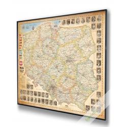 Polska administracyjno-drogowa stylizowana 100x94cm. Mapa magnetyczna.
