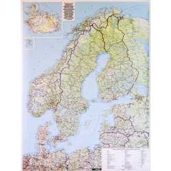 Europa Północna. Skandynawia 95x115cm. Mapa ścienna.