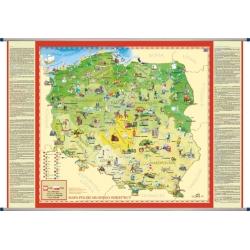 Polska ścienna dla dzieci 140x100cm.Mapa ścienna