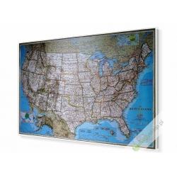 USA/Stany Zjednoczone polityczna 180x120cm. Mapa w ramie aluminiowej.