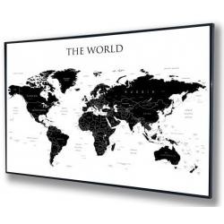 Świat Polityczny, konturowy 146x98cm. Mapa w czarnej ramie aluminiowej.