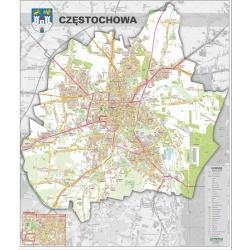 Częstochowa-plan miasta 100x120cm. Mapa ścienna.