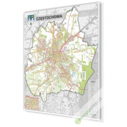Częstochowa - plan miasta 100x120cm. Mapa magnetyczna.