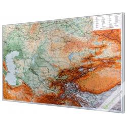 Kazachstan,Kirgistan,Tajikistan, Turkmenistan,Uzbekistan fizyczno-drogowa 126x90cm. Mapa w ramie aluminiowej.