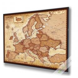 Europa stylizowana samochodowa-polityczna 100x100cm. Mapa w ramie aluminiowej.