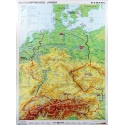 Niemcy, Austria, Szwajcaria fizyczna 122x158cm. Mapa ścienna.