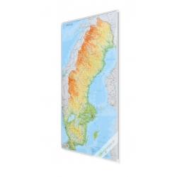 Szwecja fizyczno-drogowa 67x133 cm. Mapa w ramie aluminiowej.
