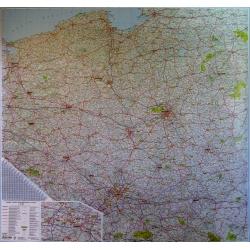 Polska drogowa 205x200cm. Mapa ścienna.