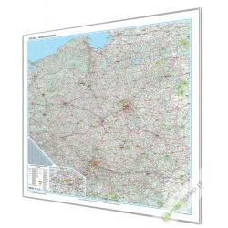 Polska Drogowa 150x142cm. Mapa w ramie aluminiowej.
