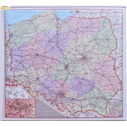 Polska drogowo -administracyjna 152x138cm. Mapa ścienna.