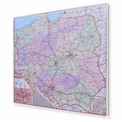 Polska administracyjno-drogowa 150x138cm. Mapa w ramie aluminiowej.