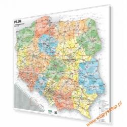 Polska administracyjno-drogowa 104x92cm. Wersja Strong. Mapa magnetyczna.