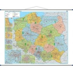 Polska Administracyjno-drogowa z kodami pocztowymi 168x140cm. Mapa ścienna.