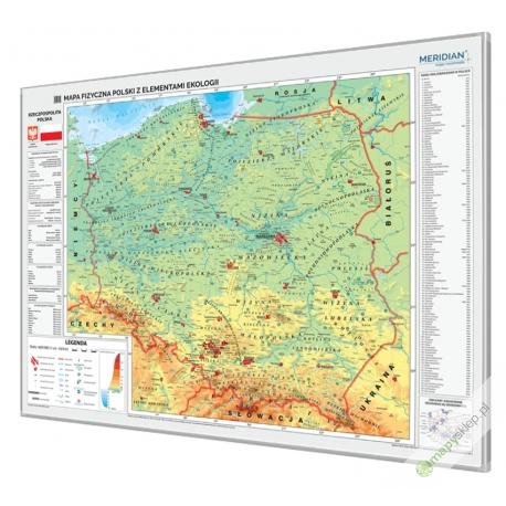Polska fizyczna z elementami ekologii 160x120cm. Mapa magnetyczna.