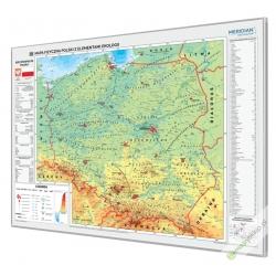 Polska fizyczna z elementami ekologii 160x120cm. Mapa w ramie aluminiowej.