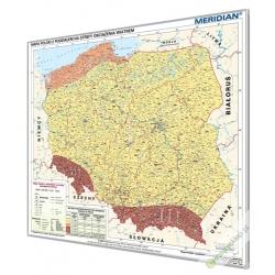 Polska z podziałem na srefy obciązenia wiatrem 130x120cm. Mapa w ramie aluminiowej.