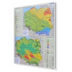 Polska. Geoologia - Tektonika i stratygrafia 120x160cm. Mapa w ramie aluminiowej.