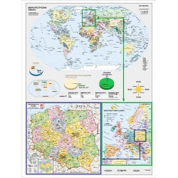 Świat, Europa, Polska polityczna 122x160cm. Mapa ścienna.