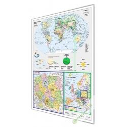 Świat, Europa, Polska polityczna 122x160cm. Mapa magnetyczna.